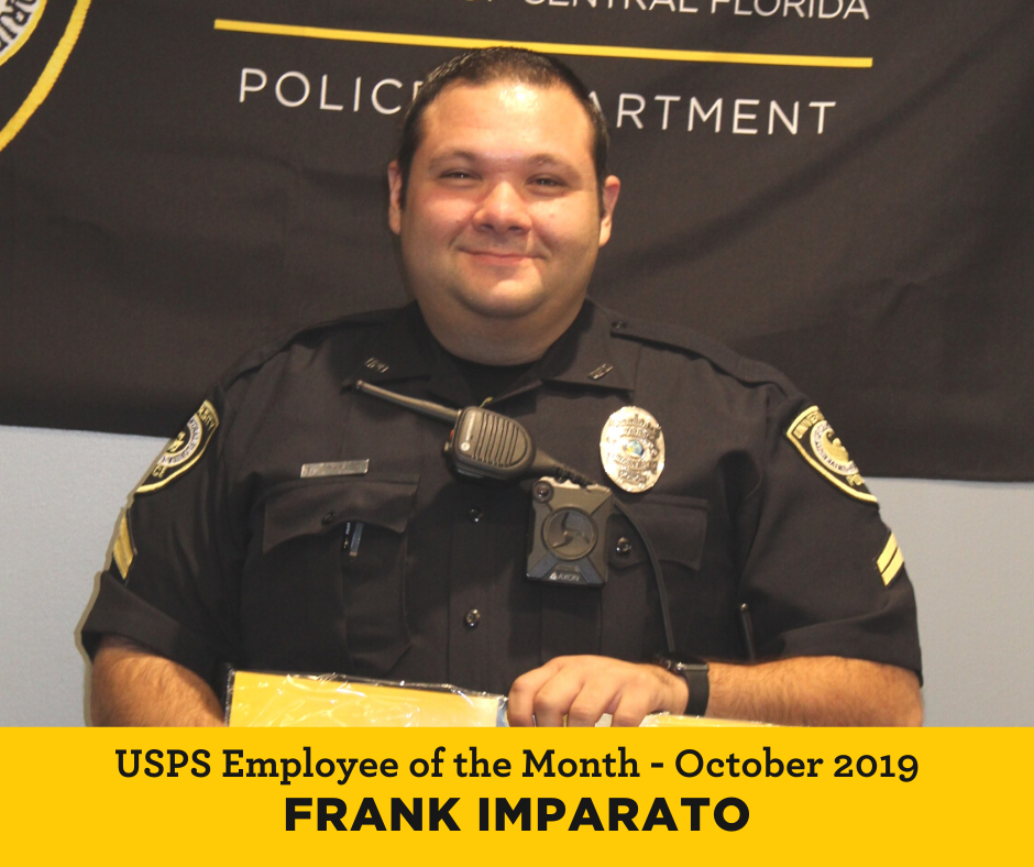 UCF USPS Employee of the Month for October 2019 Frank Imparato
